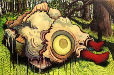 SCHEINWELTEN – Fressen und gefressen werden, Öl auf Leinwand,  70x110cm, 2011 © Viktoria Graf