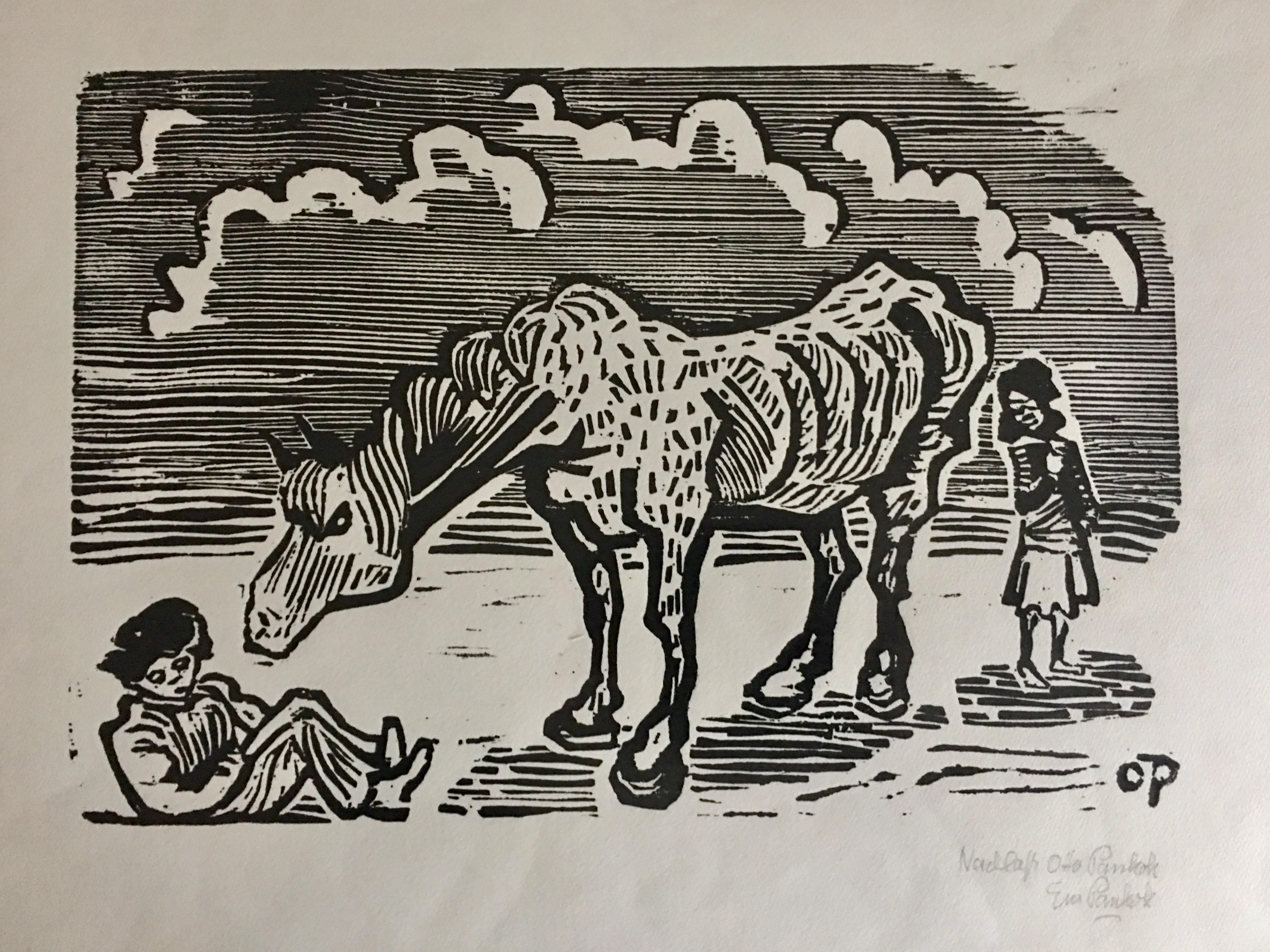 Otto Pankok, Zigeunerpferd, Holzschnitt